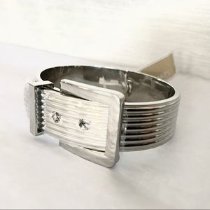 Michael Kors Jewelry Authentic Mk Silver Tone Ribbed Belt Bracelet